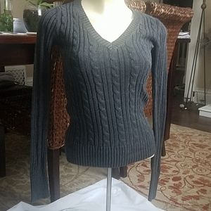 Gray cable knit v-neck sweater